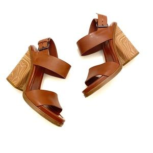 VINCE Haley Two-Band Wooden Sandal Whisky Sz 7.5